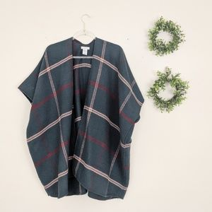 LOFT | Green Plaid Poncho OS